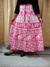 HIPPIE ETHNIC INDIAN COTTON HAND BLOCK PRINT WRAP AROUND SARONG Pink SKIRT4