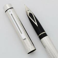 Sheaffer TARGA 1008 Fountain Pen - Silver Plated Barleycorn, Broad Nib (New)