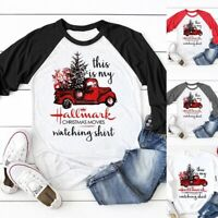 Women Hallmark Christmas T-shirt Baseball Printed Pullover Tee Tops Plus Size US
