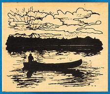 Canoe at Sunrise or Sunset Rubber Stamp by Northwoods - Man Lake Fishing Nature