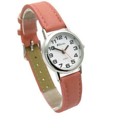 Ravel Ladies Super-clear Easy Read Quartz Watch White Face Red Strap