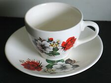 Vintage Tea Cup & Saucer Red Rose Floral Nuevo San Isidro Free Sh