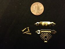 """Hinge small mini doll house Antique 1"""" 1/8""""  latch hook   Carved wood box b21"""