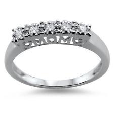 F/VS 0.13ct Round Brilliant Cut Diamonds Wedding Ring in 18K Solid White Gold