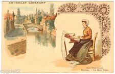 POSTCARD FRENCH CHOCOLAT LOMBART LACE MAKING BRUGES