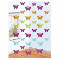 BUTTERFLY HANGING PARTY FOIL STRING DECORATION - PACK OF 6 x 2M