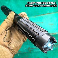 "13.25"" Metal Black Stun Gun 999 Million Volt Rechargeable + Led Flashlight New"