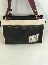 Olivia & Joy purse handbag 2 straps 15 x 11 black ivory pebbled faux leather