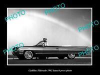 OLD POSTCARD SIZE PHOTO OF 1962 CADILLAC ELDORADO C/V LAUNCH PRESS PHOTO
