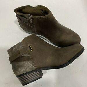 CLARKS Women's Addiy Gladys Leather Ankle Booties Taupe Size 6.5