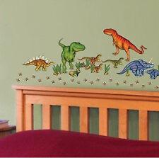 DINOSAURS wall stickers 58 decals JURASSIC WORLD eggs dino foot prints T-REX +