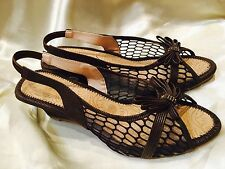 Size 5 Ladies Indian Bollywood Casual Shoes Heels Sandals Brown Beige S25