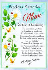 LARGE MUM 1ST ANNIVERSARY MEMORIAL BEREAVEMENT GRAVESIDE  CARD & FREE HOLDER