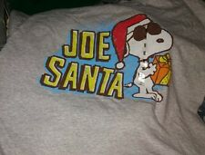 Snoopy short sleeve mens christmas t-shirt gray size large NWT joe santa