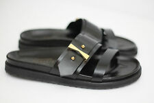 NEW Alexander McQueen Double Band Slide Sandal- Black Leather / Gold - 7US (X87)