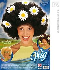 Black Large Curly Afro Wig With Daisys Hippy Hippie Flower Power Fancy Dress