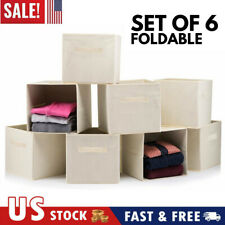 6pcs Foldable Storage Boxes - Cube Basket Bins Collapsible Organizer Container
