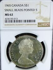 1965  CANADA SILVER DOLLAR  NGC Grade MS 62 SMALL BEADS POINTED 5