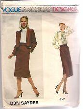 Vogue Pattern 2300 Don Sayres, Vintage Jacket, Skirt, Blouse, Size 10, Uncut