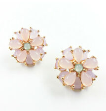 Women Lovely Resin Round Flower Stud Earrings Vintage Crystal Flower Earings*