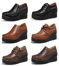 Womens Vintage Leather Slip On/ Lace Up Platforms Wedges Work  Heels Soft Shoes