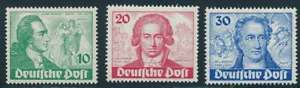 Berlin Nr. 61-63 postfrisch/**, Goethe, 10 Pfg. mit Plattenfehler I (59147)