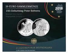 20 Euro Silber Gedenkmünze Deutschland 2018 SPIEGELGLANZ 150. Geb. Peter Behrens