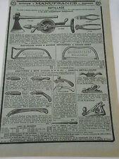 Pub Ancienne 1950 Articles Outillage Scie à buches Rabots Grattoirs etc