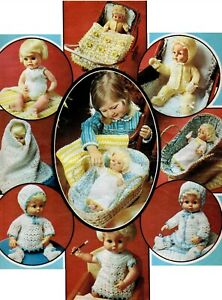 """Knitting & Crochet Pattern 4 ply Baby Dolls Clothes 12 14 16"""" Layette"""