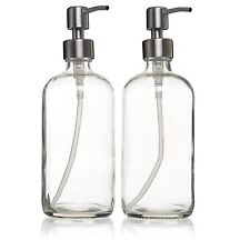 (2-Pack) 16oz Liquid Soap Dispenser Stainless Steel Pump, Glass Bottles