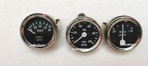 Smiths 52mm Kit Oil Pressure 100 psi Gauge Volt Ampere Gauge meter Black Chrome