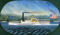 "perfect 48x24 oil painting handpainted on canvas "" steamboat""N8769"