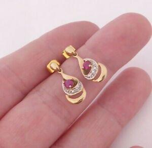 9ct gold pair of diamond & natural ruby drop earrings, art deco design 9k 375