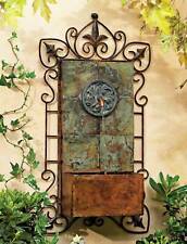 """Rustic Outdoor Wall Water Fountain with Light LED 33"""" Medallion for Garden Home"""
