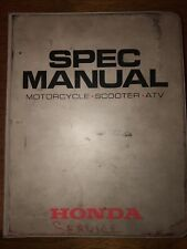 1988-1992 Motorcycle Atv Scooter Service Specifications Spec Book Manual