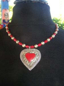 Vintage Southwestern Silver African Trade Beads & Coral Ornate Heart Necklace