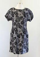 Banana Republic Gray Black Floral Wool Blend Short Sleeve Shift Dress Size 4