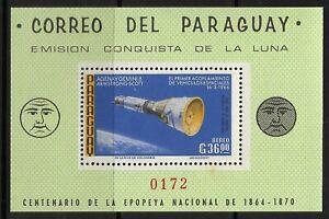 STAMPS-PARAGUAY. 1966. Moon Exploration Perf Miniature Sheet. Mi: BL 89. MNH