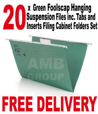 20 x Green Foolscap Hanging Suspension Files incl. Tabs Inserts Filing Cabinet