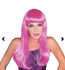 Long Pink Glamour Wig With Fringe - Hot Costume Rubies Adult Wavy Official One