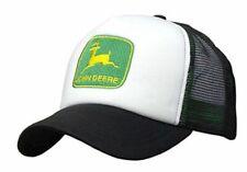 JOHN DEERE *BLACK & WHITE FOAM MESH TRUCKER* Trademark Logo HAT CAP *BRAND NEW*