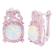 """White Fire Opal Pink Topaz Silver Women Jewelry Gems Hoop Earrings 7/8"""" OH3934"""