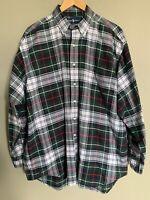 RALPH LAUREN Mens Green PlaId Button Down L/S Shirt Size L THE BIG OXFORD