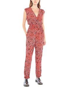 Maje Size 36/S Red Grey Black Leopard Print Sleeveless Smocked Waist Jumpsuit