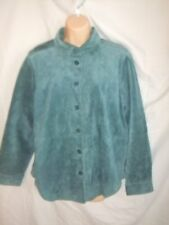 Chadwicks Womens Suede Jacket Medium Teal Genuine Leather Lined