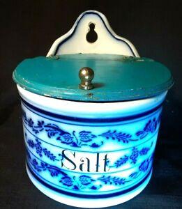 Antique German Salt Box Blue Delph with Wood Lid ~Wall Hanging Primitive 1800's