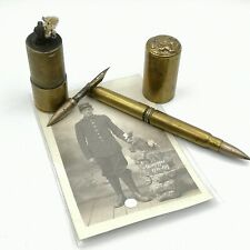 Lovely antique MILITARIA Trench Art lighter, pen and pictures from old soldier