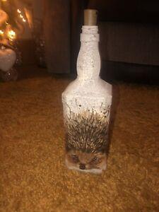 Beautiful HEDGEHOG LIGHT Decoupage Bottle/handmade/gift/christmas/unique