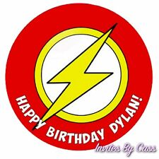 FLASH SUPERHERO ROUND 7 INCH EDIBLE IMAGE CAKE TOPPER BIRTHDAY PARTY KIDS