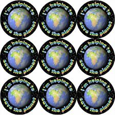 144 Save the Planet 30 mm Reward Stickers for School Teachers, Parents